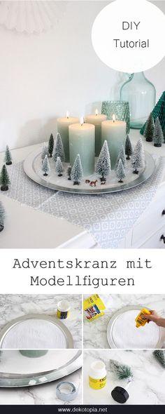 DIY Anleitung: Ein kleiner Winterwald mit Modellbäumen und Hirschen ist die perfekte alternative für einen Adventskranz!