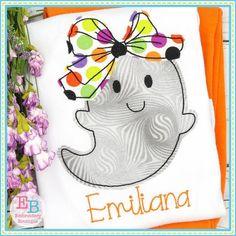 Ghost Big Bow Bean Stitch Applique Design