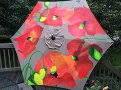 Unique hand painted patio umbrellas.  Original by kimmillerdesigns