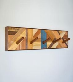 Reclaimed Wood Mosaic Coat Rack by Gray Fox Design Works on Scoutmob Shoppe Wood Mosaic, Timber Wood, Patchwork Designs, Fox Design, Wood Pieces, Handmade Home Decor, Wood Pallets, Wood Crafts, Woodworking