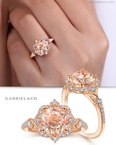 Vintage Inspired Rose Gold Round Halo Morganite and Diamond Engagement Ring Morganite Engagement, Rose Gold Engagement, Beautiful Engagement Rings, Perfect Engagement Ring, Engagement Ring Styles, Rose Gold Jewelry, Diamond Jewelry, Jewelry Rings, Vintage Style Rings