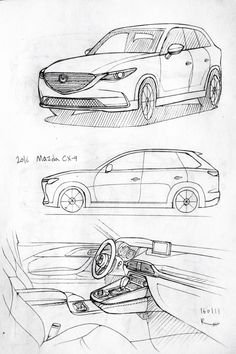 Car drawing 160111.  2016 Mazda CX-9. Prisma on paper.  Kim.J.H
