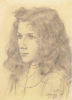 Jan Toorop, Meisjeskopje, Portrait of Jopie Jurriaan Kok - 1906