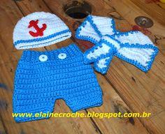 Elaine Croche: Kit Newborn Marinheiro - Gorrinho, Gravatinha e Tapa Fraldas