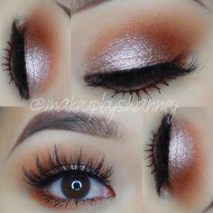 """everyday eye makeup: shimmery pink champagne on the lid, warm warm brown, lashes, liner along lashline (?) - Shanney Thich ♡ (@makeupbyshanney): """"@lillylashes in Miami."""