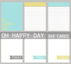 Oh Happy Day 3×4 Journaling Card Set Freebie for Project Life | [ One Velvet Morning ]