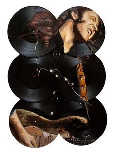 A colour portrait of the Irish musician Rory Gallgher playing guitar. The painting is on six old vinyls. Rory Gallagher, Playing Guitar, Daisy, Painting, Color, Art, Art Background, Daisies, Painting Art