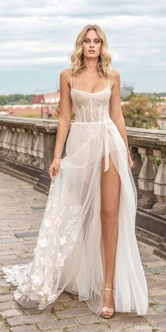 helena kolan 2020 bridal sleeveless thin straps scoop neckline heavily embellished bodice slit skirt sexy a line wedding dress chapel train mv -- Helena Kolan 2020 Wedding Dresses Wedding Dress Trends, Sexy Wedding Dresses, Boho Wedding Dress, Bridal Dresses, Gown Wedding, Lace Wedding, Scoop Wedding Dress, 40s Wedding, Bodice Wedding Dress