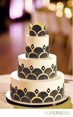 White wedding cake with art deco flair: black and yellow semi-circles and diamonds. Gorgeous Cakes, Pretty Cakes, Cute Cakes, Fancy Cakes, Amazing Cakes, Art Deco Cake, Cake Art, Pink Cake Box, Bolo Floral