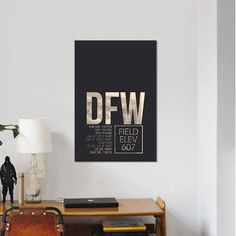 "East Urban Home Air Traffic Control Series 'Dallas/Fort Worth' Textual Art on Canvas Size: 12"" H x 8"" W x 0.75"" D"