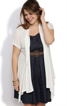 Deb Shops Plus Size Short Sleeve #Cozy with Half Lace Back $10.49