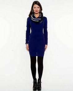 Knit Cowl Neck Sweater Dress: size xxsmall