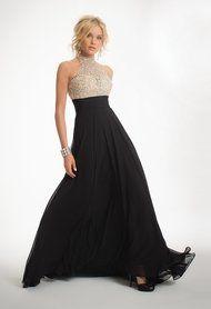 Two-Tone Beaded Halter Dress
