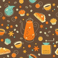 Food seamless backgrounds in vintage style on Behance