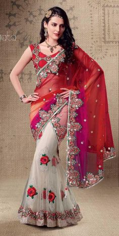 Red Faux Georgette and Net Lehenga Saree 19402 With Unstitched Blouse