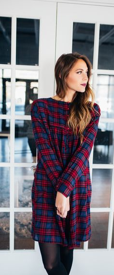 Rockin' around the Christmas tree will be a lot more fun in this plaid dress with perfectly paired colors. Long sleeves and just the right length, these colors will look good on you!