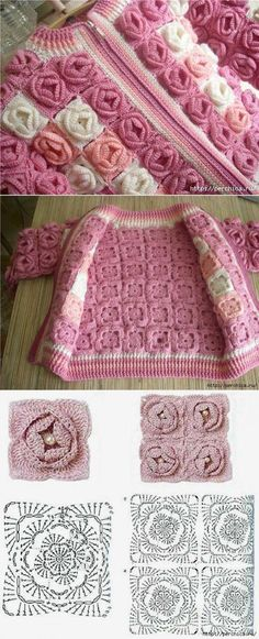 Crochet jacket granny square 26 Ideas for 2019 Col Crochet, Gilet Crochet, Crochet Jacket, Crochet Chart, Crochet Squares, Crochet Motif, Irish Crochet, Crochet Flowers, Crochet Stitches