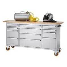 Husky Heavy-Duty 62 in. W 14-Drawer, Deep Tool Chest Mobile Workbench in Matte Black with Adjustable-Height Hardwood Top-HOLC6214BB1MYS - The Home Depot Workbench With Storage, Rolling Workbench, Tool Storage, Storage Spaces, Workbench Ideas, Garage Workbench, Mobile Tool Box, Small Parts Organizer, Mobile Workbench