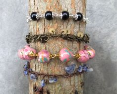 Pack of bracelets, unique handmade chains, beads and stones. #Handmade #Bracelets
