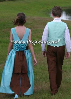 Tiffany blue and chocolate brown FLOWER GIRL DRESSES with ring bearer suit