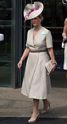 Sophie, Countess of Wessex chose a striking nude and cerise hat on the Day two of Royal Ascot 2013