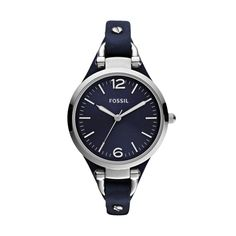 FOSSIL® Watch Styles Leather Watches:Watch Styles Georgia Leather Watch - Blue ES3146