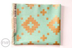 Mesa CANVAS Tile in Aqua Metallic Copper, Alexia Abegg, Cotton+Steel, RJR Fabrics, Cotton and Linen Canvas Fabric, Tile, Aqua, Fabrics, Metallic, Copper, Fat Quarters, Single Piece, Unique Jewelry