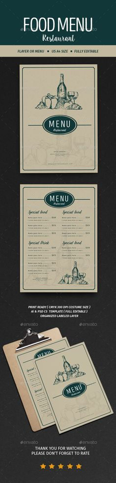 Vintage Menu Restaurant  PSD Template • Download ➝ https://graphicriver.net/item/vintage-menu-restaurant/17058322?ref=pxcr