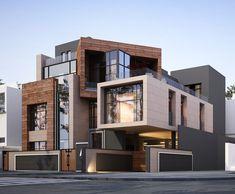 Best Modern House Design, Modern Villa Design, Modern Exterior House Designs, Home Modern, Exterior Design, Classic House Design, Residential Building Design, Architecture Building Design, Facade Architecture