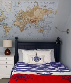 Preteen boy's bedroom with map wall mural by K+K Interior Design