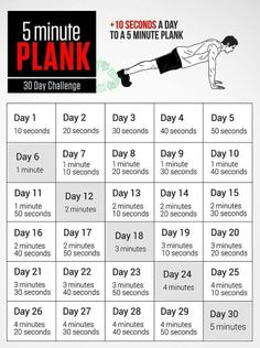 30 day 5 minute plank challenge