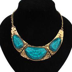 envío gratuito por mayor joyería de moda de moda al por menor 2014 tribales antic plata oro collares para mujer 105559 geométrica babero