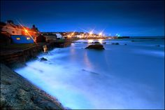 St Monans - Harbour Lights & the Blue Hut by angus clyne, via Flickr