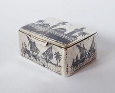 Antique-IRAQI-SILVER-Niello-SNUFF-BOX-Marsh-Arab-Art-c1910