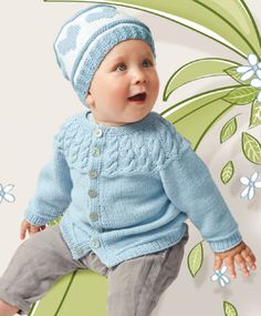 Комплект-жакет и шапочка для детей, вязаный спицами