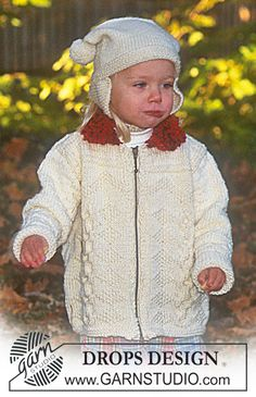 DROPS cardigan with zipper and Hat ~ DROPS Design Free Pattern