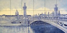 """Pont Alexandre III Arch Bridge"" hand painted tiles backsplash tile mural - Spaces - Other Metro - Hand Painted Tile Murals Glass Porcelain by Julia"