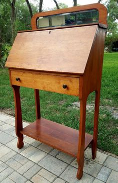 Writing desk secretary drop front beveled mirror primitive arts & crafts/mission | Antiques, Furniture, Desks & Secretaries | eBay!
