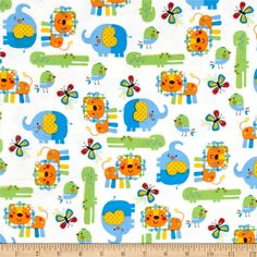Zoo Mates Flannel Animal Allover White/Multi from @fabricdotcom From Henry Glass & Company, this single napped (brushed on one side) printed flannel fabric is perfect for quilting, children's apparel, and more! Colors include white, blue, green, orange, yellow, red, and black.