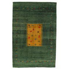Image of Green Gabbeh Rug - 6' X 9'