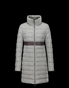 jacke moncler damen, Moncler SOLOGNE Damen Mantel Für Sie Grau Schurwolle