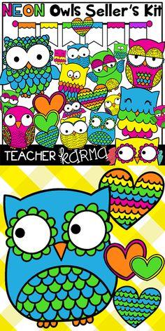 Owl NEON clipart Kit for teachers and classrooms.  TeacherKarma.com