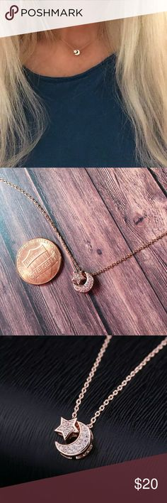 Tiny crescent moon and star rose gold necklace This is a rose gold tiny star and moon it has Cubic zirconia rhinestones very small and dainty 6mm wide 8mm long, rose gold alloy chain,16 inch chain with extension Jewelry Necklaces