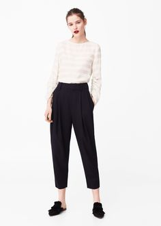 Semitransparent linen-blend blouse | MANGO