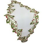 <strong>Holiday Holly Embroidered Cutwork Table Runner</strong> by Xia Home Fashions
