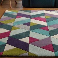 Stacie Hand Tufted Wool Pink/Blue/Purple Rug Corrigan Studio Rug Size: Rectangle 170 x Chevron Rugs, Chevrons, Geometric Rug, Yellow Rug, Orange Rugs, Green Rugs, Wool Carpet, Rugs On Carpet, Carpets