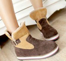 Бесплатная доставка 2014New мода скольжения - на круглый носок теплые сапоги женщин зимние ботинки свободного покроя туфли размер 35 - 40(China (Mainland))