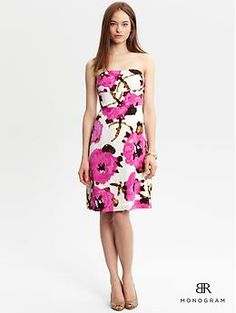 In silk with a little stretch, this strapless floral sheath is available at Banana Republic.