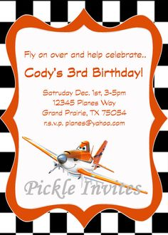 Disney Planes Invitation and Thank You Card Disney Planes Party, Disney Planes Birthday, 4th Birthday Parties, Birthday Fun, Birthday Ideas, Baby Boy Birthday, Party Entertainment, Party Ideas, Invitation Ideas