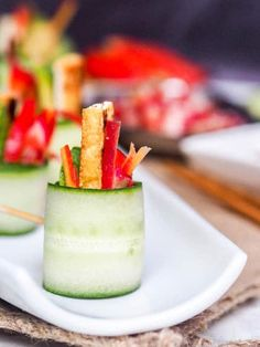 Cucumber Appetizers are simply the best. These Vegan Asian Cucumber Rolls are the perfect refreshing bite of tangy Asian flavors of tofu, avocados, red pepper, and lightly pickled carrots & radishes. Cucumber Appetizers, Vegan Appetizers, Appetizer Recipes, Snacks Recipes, Shrimp Recipes, Sushi Roll Recipes, Avocado Recipes, Cucumber Rolls, Light Appetizers